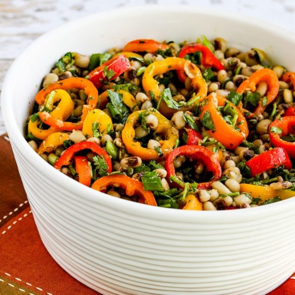 Black-Eyed Pea Salad with Peppers, Cilantro, and Cumin-Lime Vinaigrette on KalynsKitchen.com