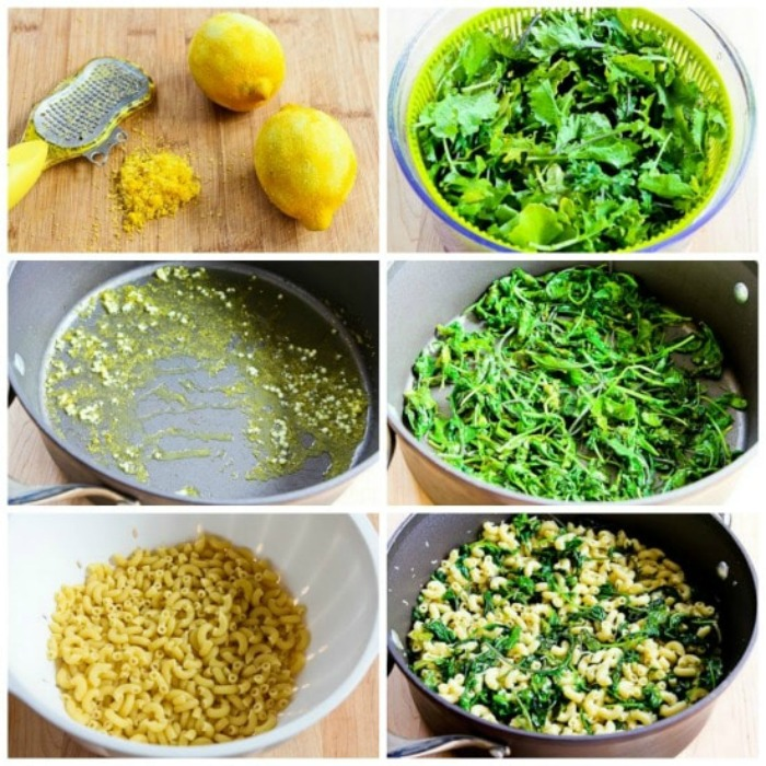 Macaroni with Greens, Lemon, and Parmesan process shots collage