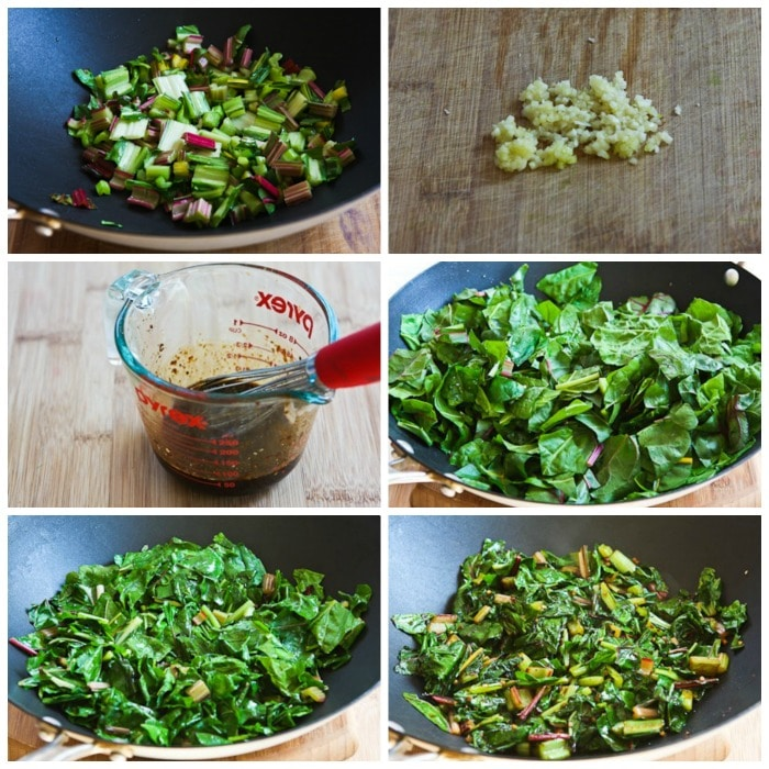Spicy Stir-Fried Swiss Chard process shots collage