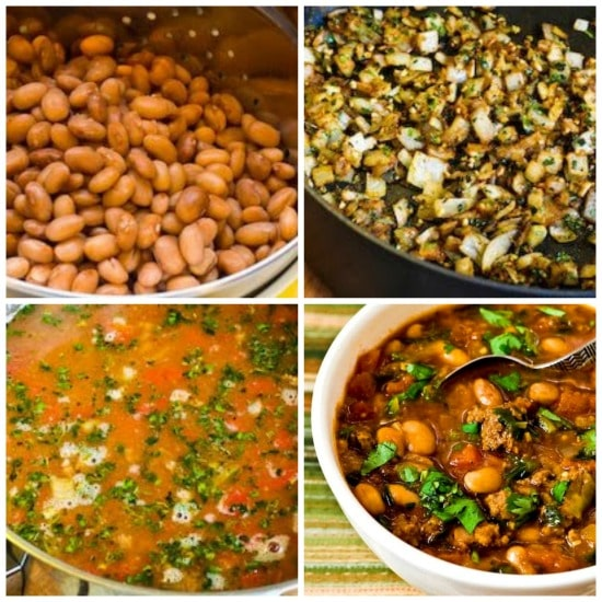 Pressure Cooker Pinto Bean and Ground Beef Stew with Cumin and Cilantro found on KalynsKitchen.com