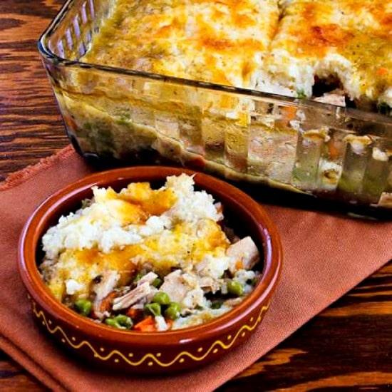 Leftover Turkey (or chicken) Shepherd's Pie with Garlic-Parmesan Cauliflower Topping found on KalynsKitchen.com