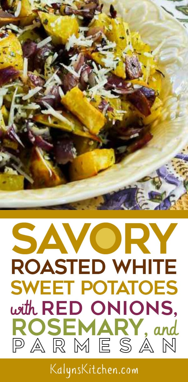 Pinterest image of Savory Roasted White Sweet Potatoes with Red Onions, Rosemary, and Parmesan