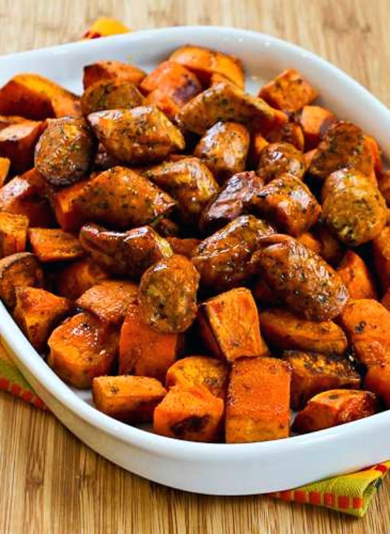 Easy Spicy Roasted Sweet Potatoes And Chicken Garlic Sausage