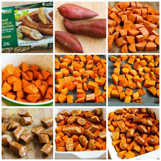 Easy Spicy Roasted Sweet Potatoes and Chicken-Garlic Sausage found on KalynsKitchen.com
