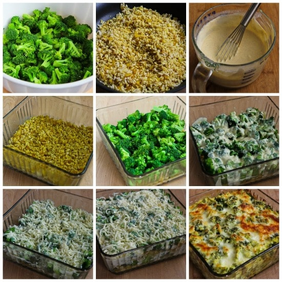 Vegetarian Brown Rice and Broccoli Casserole with Creamy Curry Sauce found on KalynsKitchen.com