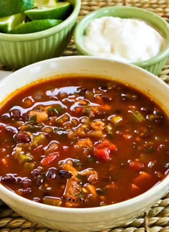 Chicken, Black Bean, and Cilantro Soup found on KalynsKitchen.com.