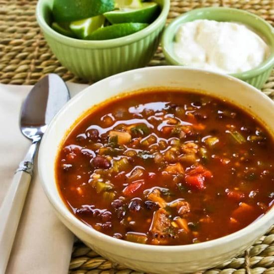 Chicken, Black Bean and Cilantro Soup found on KalynsKitchen.com