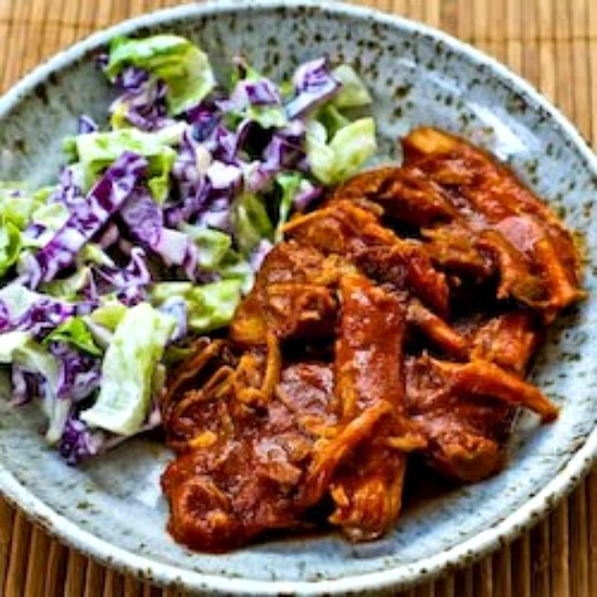 Slow Cooker Pulled Pork with Low-Sugar Barbecue Sauce found on KalynsKitchen.com