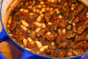 Cannellini Bean and Sausage Stew with Tomatoes and Basil from KalynsKitchen.com]