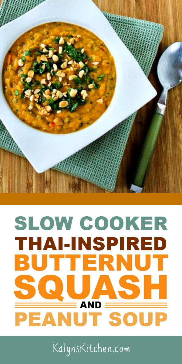 Slow Cooker Thai-Inspired Butternut Squash and Peanut Soup found on KalynsKitchen.com