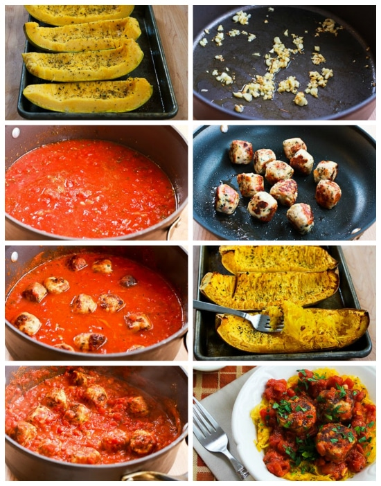 Roasted Spaghetti Squash with Tomato-Garlic Sauce and Chicken Meatballs found on KalynsKitchen.com
