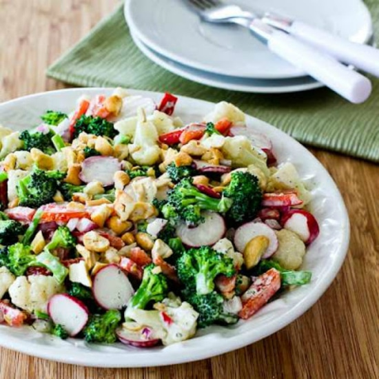 Low-Carb Broccoli and Cauliflower Salad with Radishes found on KalynsKitchen.com