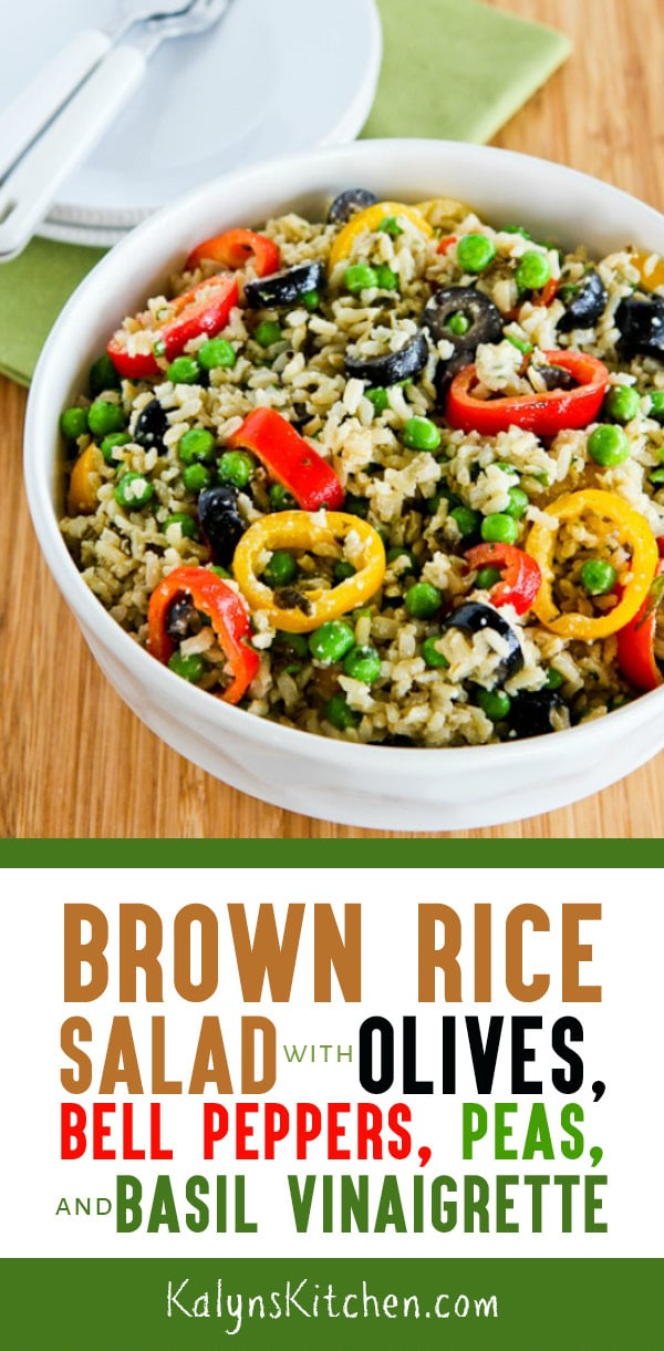 Pinterest image of Brown Rice Salad with Olives, Bell Peppers, Peas, and Basil Vinaigrette