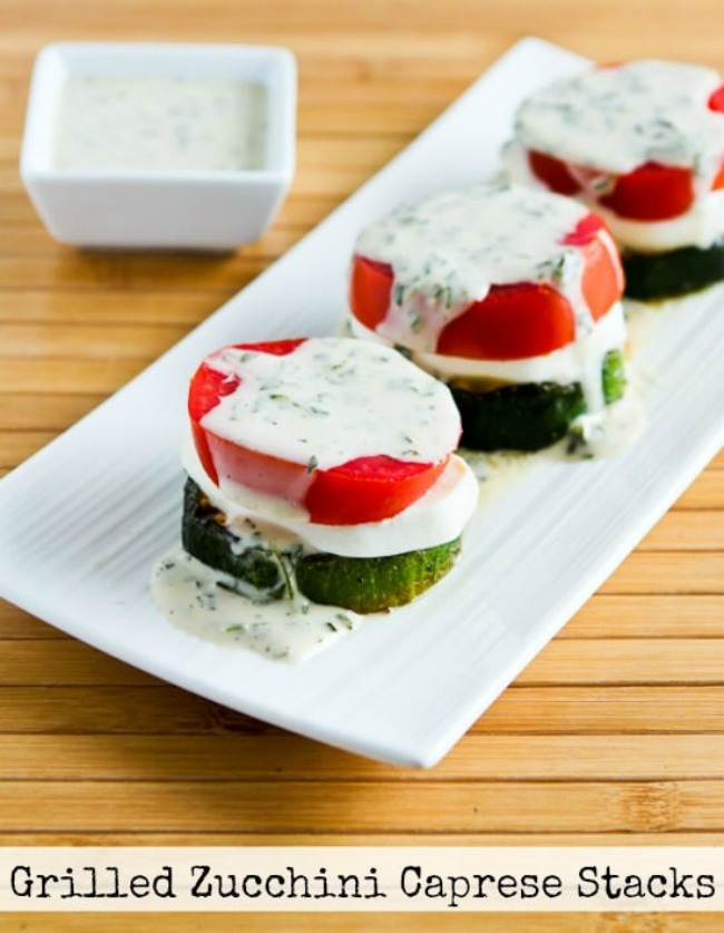 Grilled Zucchini Caprese Stacks