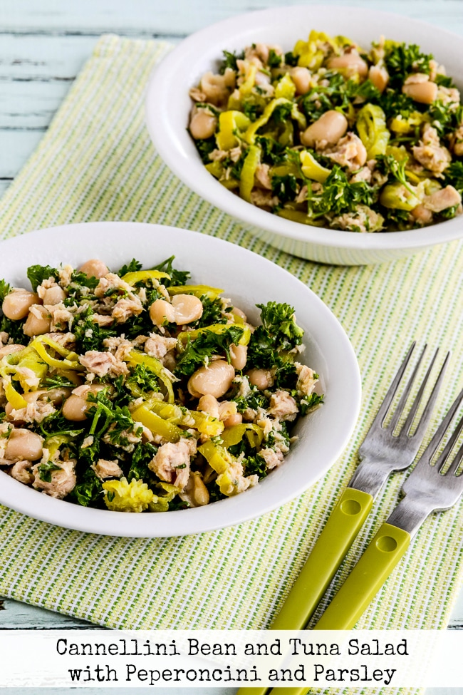 Cannellini Bean and Tuna Salad with Peperoncini and Parsley finished salad in serving bowls