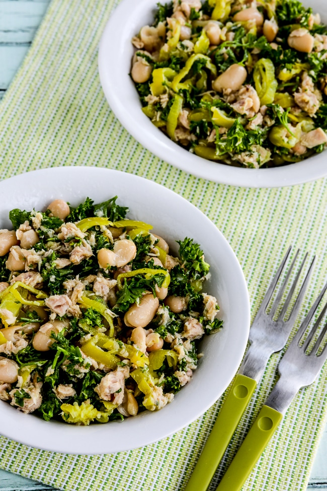 Cannellini Bean and Tuna Salad with Peperoncini and Parsley close-up photo