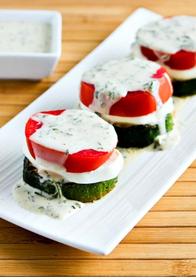 Close-up photo for Grilled Zucchini Caprese Stacks