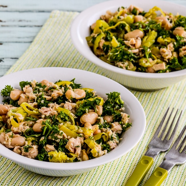Cannellini Bean and Tuna Salad with Peperoncini and Parsley square image of finished salad in bowls