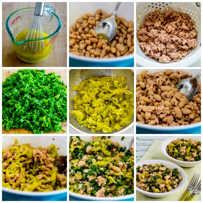 Cannellini Bean and Tuna Salad with Peperoncini and Parsley process shots collage