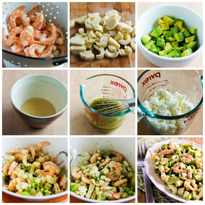 Lemony Shrimp Salad with Avocado, Heart of Palm, and Feta process shots collage