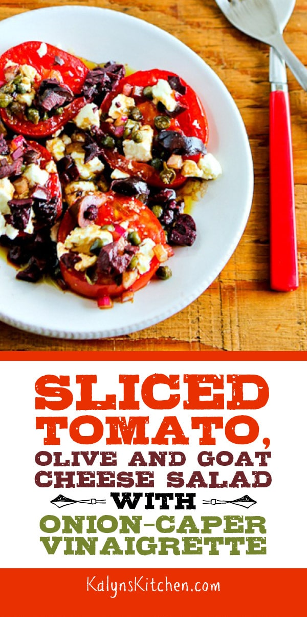 Pinterest image of Sliced Tomato, Olive and Goat Cheese Salad with Onion-Caper Vinaigrette