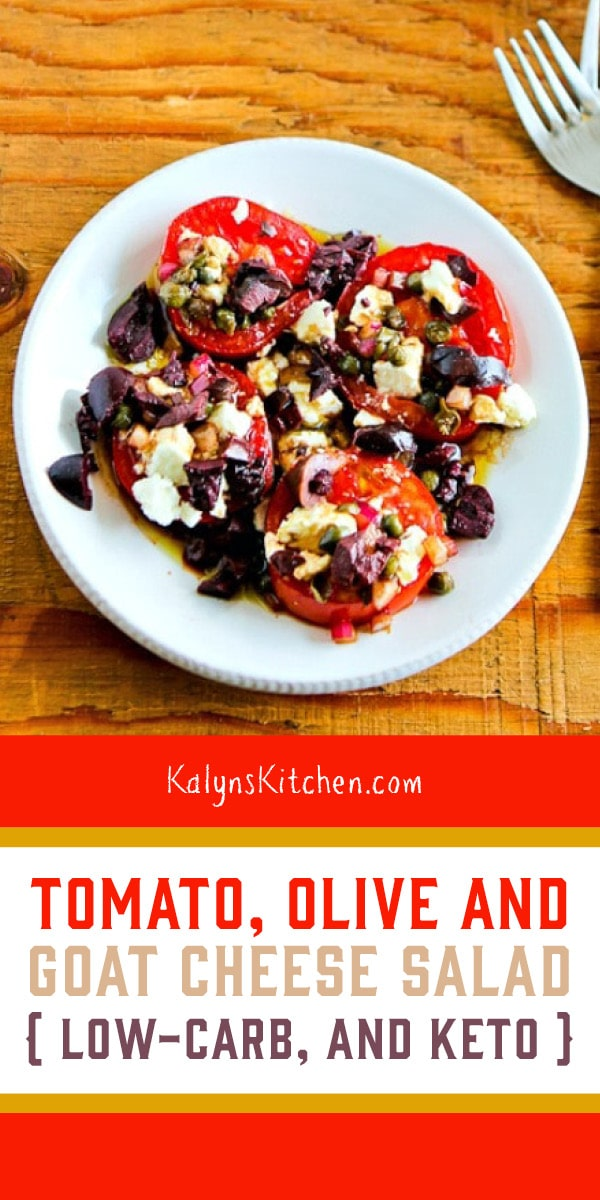 Pinterest image of Tomato, Olive and Goat Cheese Salad
