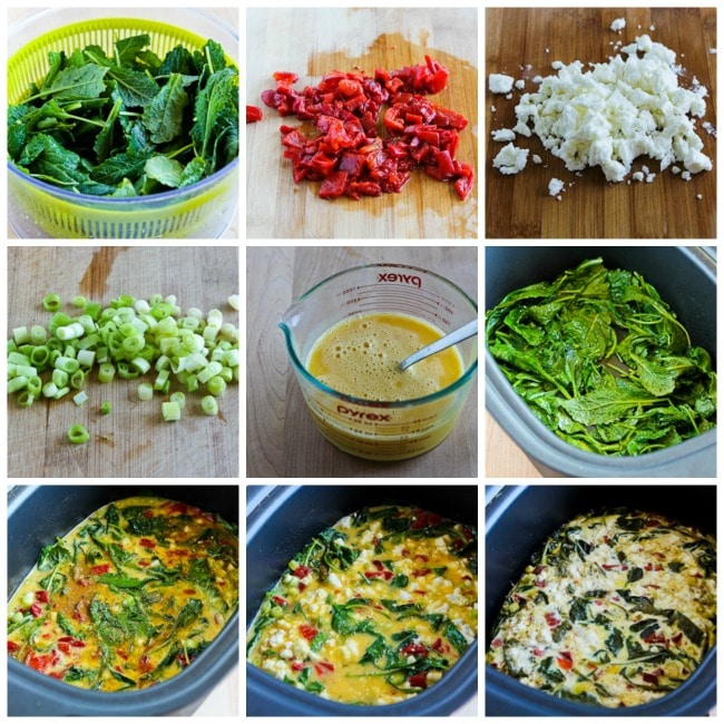 Slow Cooker Frittata with Kale, Roasted Red Pepper, and Feta process shots collage