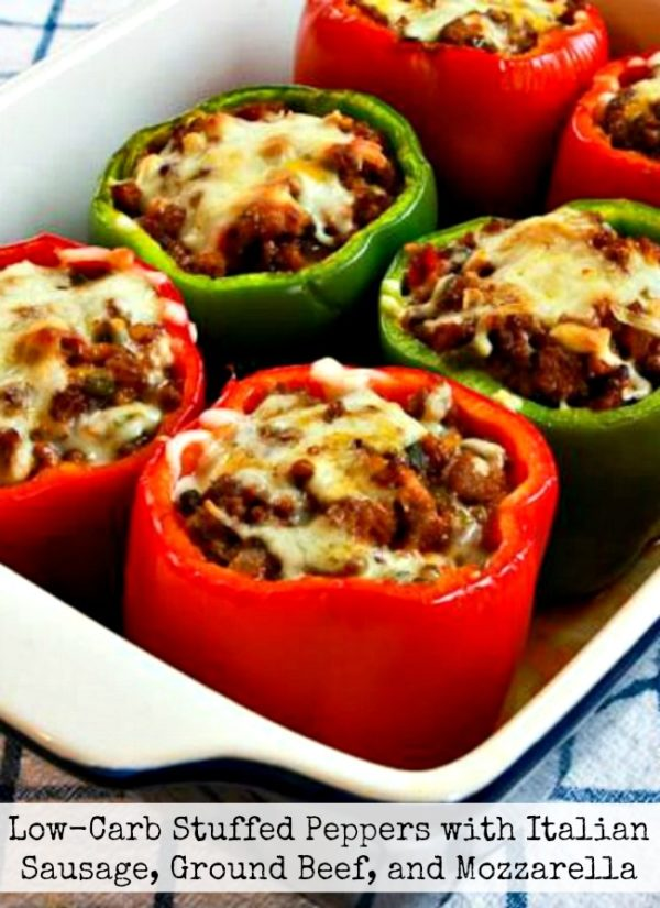 Low-Carb Stuffed Peppers with Italian Sausage, Ground Beef, and Mozzarella found on KalynsKitchen.com
