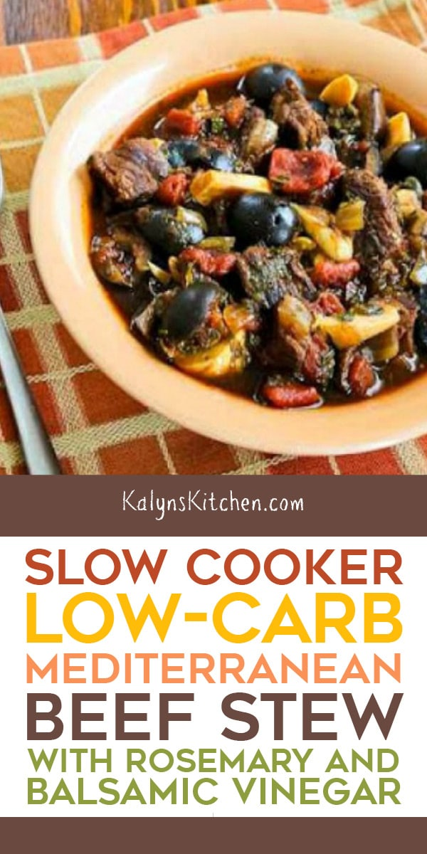 Pinterest image of Slow Cooker Low-Carb Mediterranean Beef Stew with Rosemary and Balsamic Vinegar