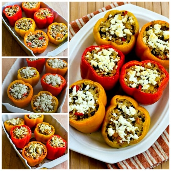 Vegetarian Stuffed Peppers with Brown Rice, Mushrooms, and Feta found on KalynsKitchen.com