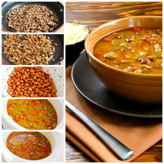 Spicy Slow Cooker soup with Turkey, Pinto Beans, Red Pepper, and Green Chiles [found on KalynsKitchen.com]