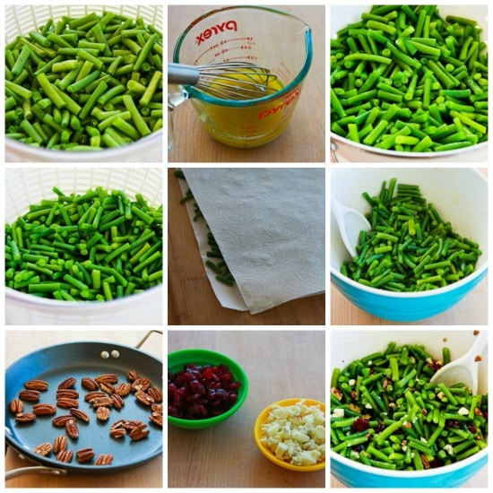 Thanksgiving Green Bean Salad with Blue Cheese, Dried Cranberries, and Pecans found on KalynsKitchen.com