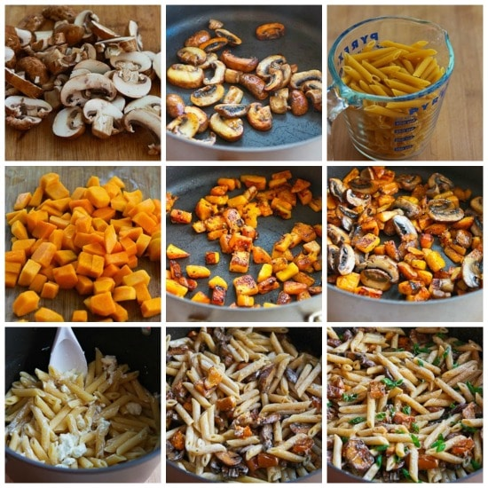 Vegetarian Penne Pasta with Butternut Squash, Mushrooms, and Goat Cheese found on KalynsKitchen.com