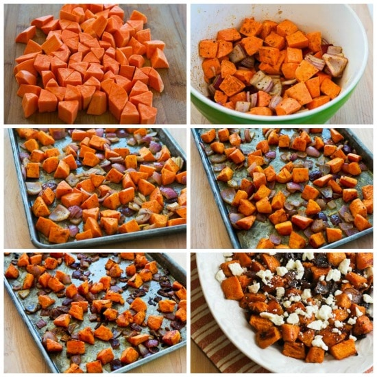 Roasted Sweet Potatoes and Red Onions with Feta found on KalynsKitchen.com