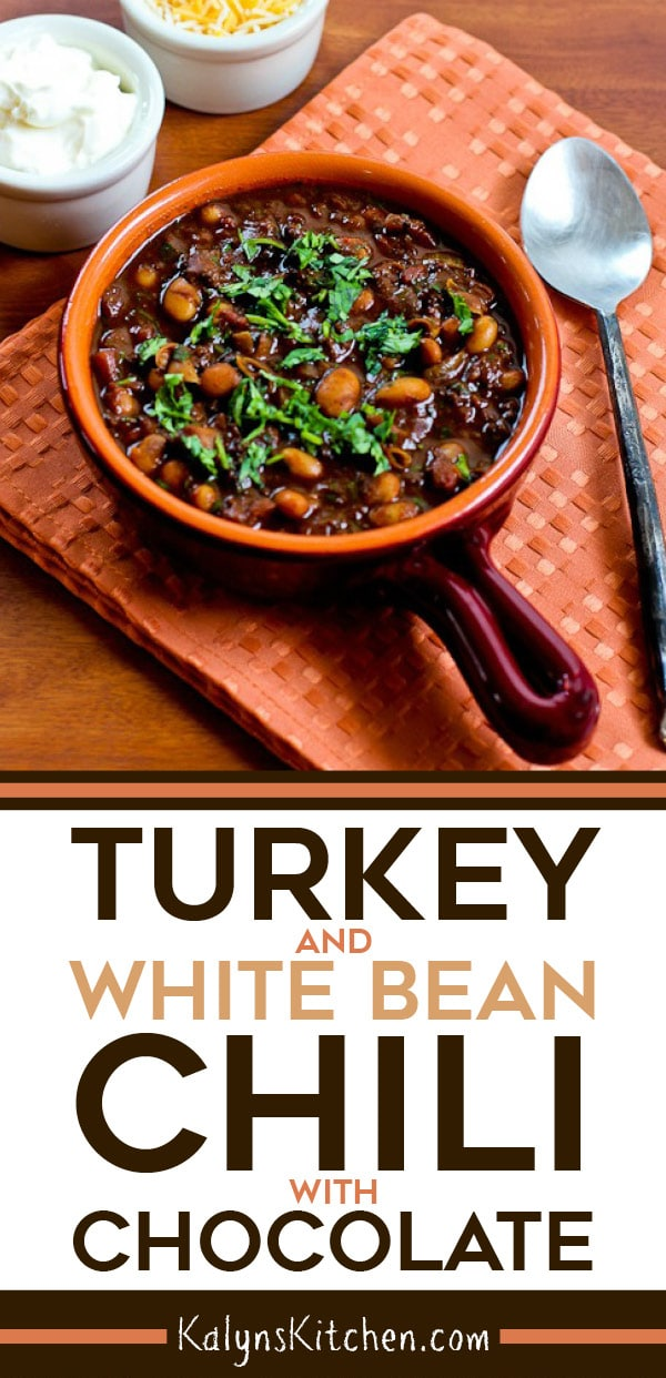 Pinterest image of Turkey and White Bean Chili with Chocolate