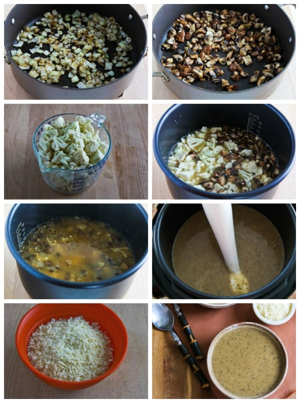 Low-Carb Cauliflower and Mushroom Pressure Cooker Soup process shots collage