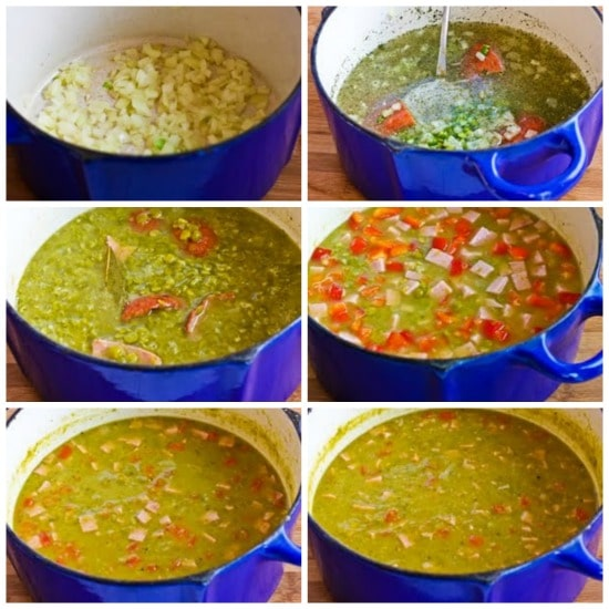 Split Pea Soup with Ham, Bay Leaves, Epazote, and Red Bell Pepper found on KalynsKitchen.com