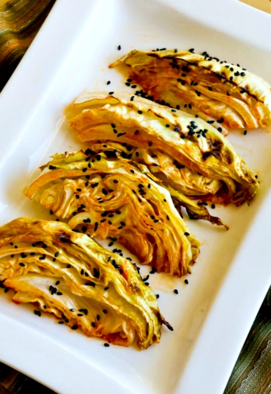 Low-Carb Roasted Cabbage with Lime and Sriracha found on KalynsKitchen.com