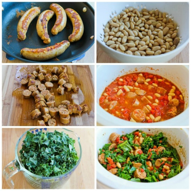 Slow Cooker Cannellini Bean Stew with Tomatoes, Italian Sausage, and Kale process shots collage