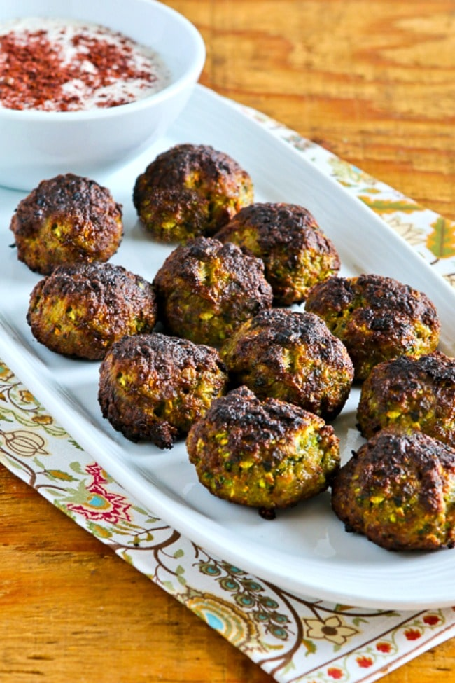 Ottolenghi's Turkey-Zucchini Meatballs finished meatballs on serving plate