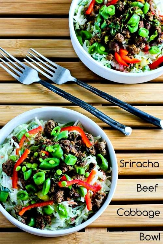 Low-Carb Sriracha Beef Cabbage Bowl found on KalynsKitchen.com