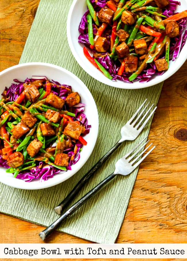 Cabbage Bowl with Tofu and Peanut Sauce top photo of finished bowls with title