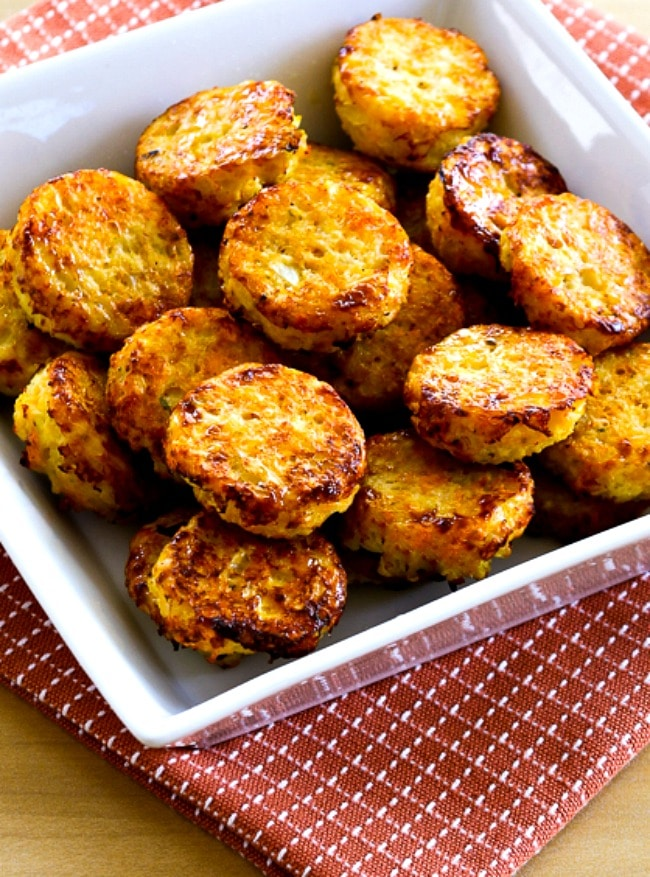 Low-Carb Cheesy Baked Cauliflower Tots close-up photo