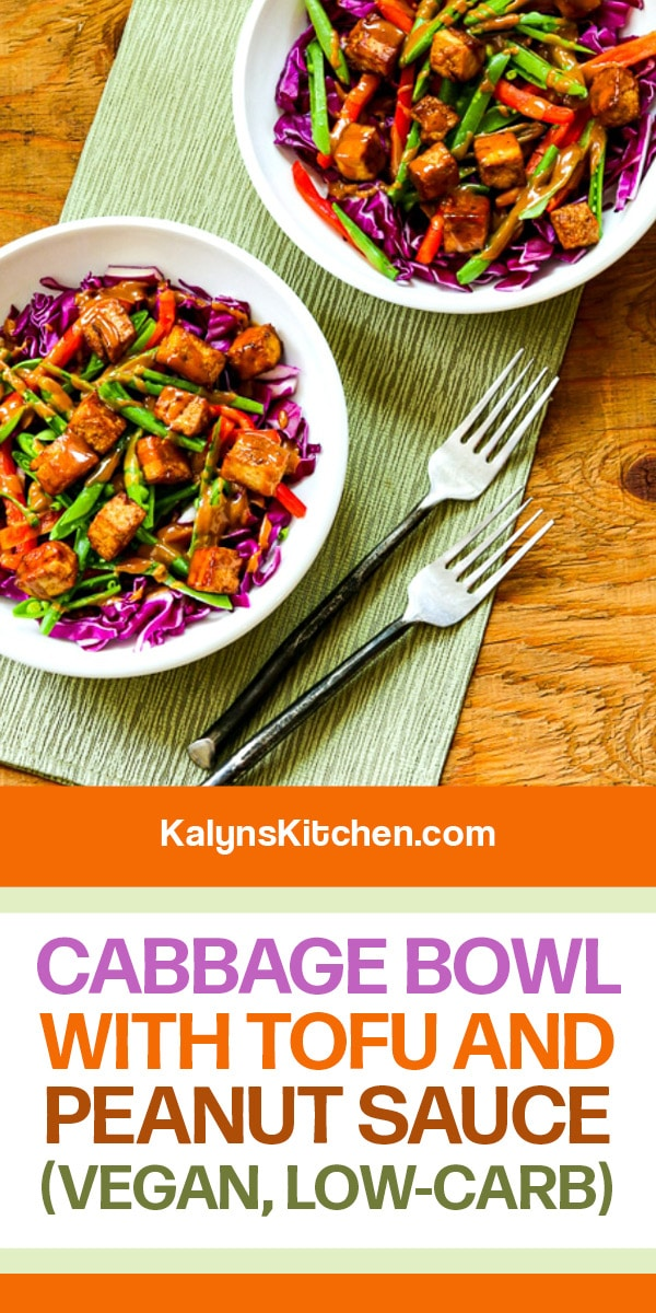 Pinterest image of Cabbage Bowl with Tofu and Peanut Sauce