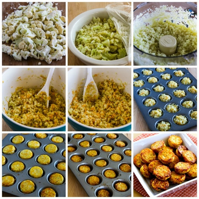 Low-Carb Cheesy Baked Cauliflower Tots process shots collage