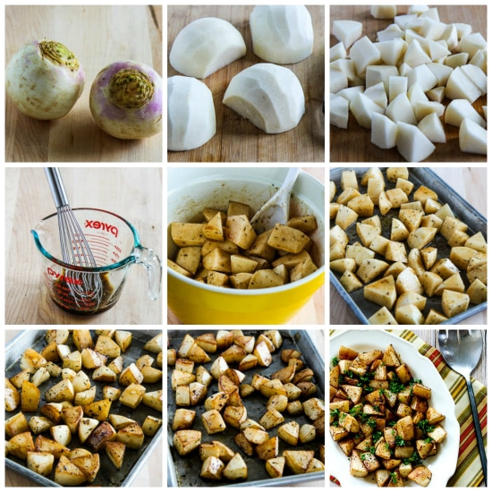 Roasted Turnips with Balsamic Vinegar and Thyme found on KalynsKitchen.com