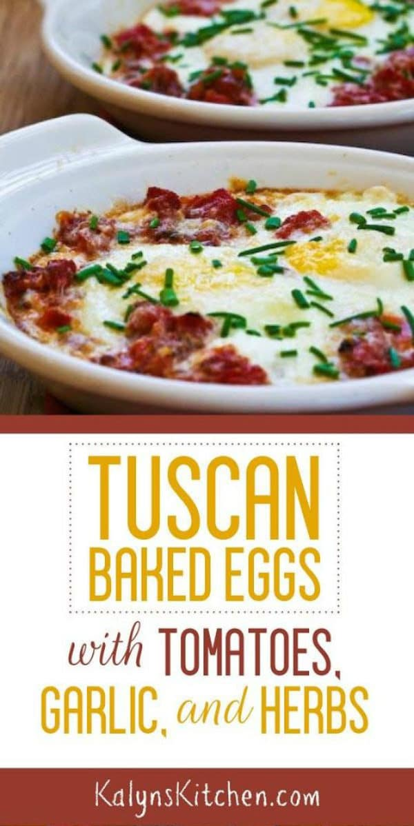 Tuscan Baked Eggs with Tomatoes, Red Onion, Garlic, Parmesan, and Herbs found on KalynsKitchen.com