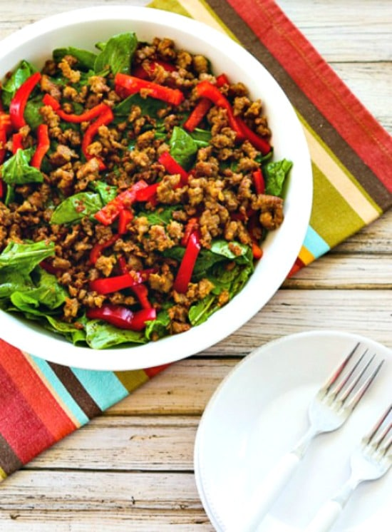 Low-Carb Baby Arugula Salad with Italian Sausage and Red Pepper found on KalynsKitchen.com
