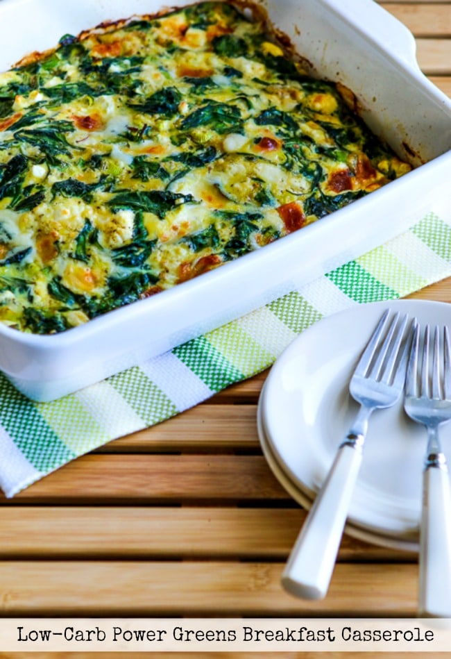 Low-Carb Power Greens Breakfast Casserole with Feta and Mozzarella title photo