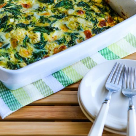 Low-Carb Power Greens Breakfast Casserole with Feta and Mozzarella